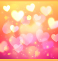 Shining bokeh effect hearts pink background vector
