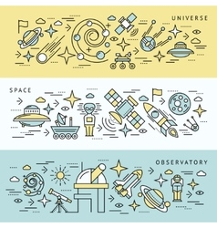 Space Line Banner Set vector image