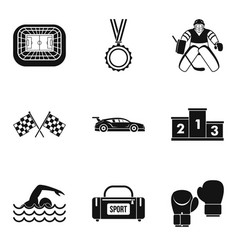 Sportsmanlike icons set simple style vector