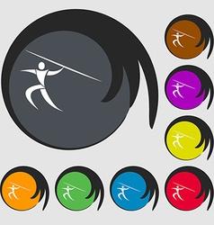 Summer sports javelin throw icon symbols on eight vector