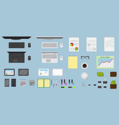 Top view office table workspace organization vector