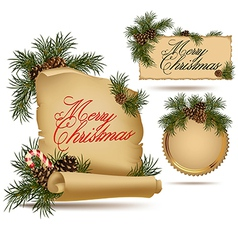 Christmas vintage scrolls and stickers vector