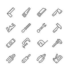 Set line icons of hand tool vector