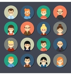 Smiling cartoon people icons set vector