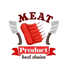 Butcher shop fresh meat ribs emblem vector image