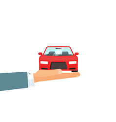 Hand holding car concept of automobile vector
