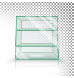 Empty transparent glass box cube  3d vector