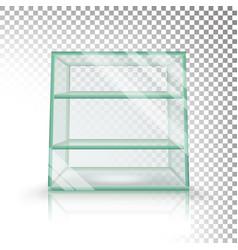 empty transparent glass box cube  3d vector image