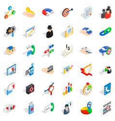 Business progress icons set isometric style vector