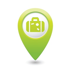 Suitcase icon on map pointer green vector