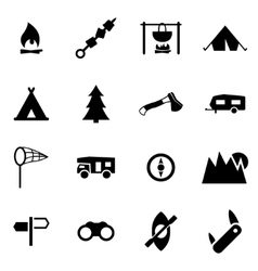 Black camping icon set vector