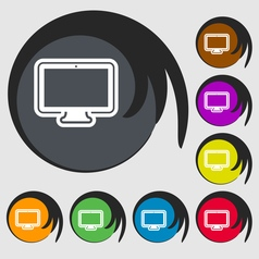 Monitor icon sign symbol on eight colored buttons vector