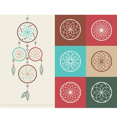 Dream catcher boho icons vector