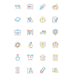 School and education colored line icons 1 vector