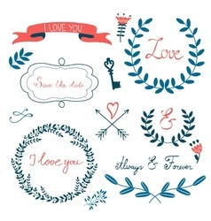 Romantic collection with flowers wreaths and vector