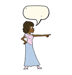Cartoon woman pointing finger with speech bubble vector