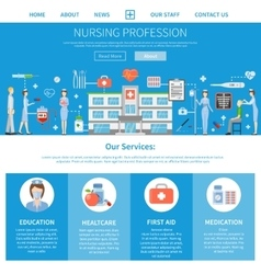 Nursing profession advertising layout vector