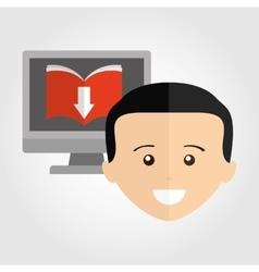 Person using an electronic book design vector