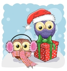 Two christmas owls vector
