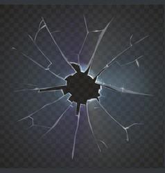 Realistic broken glass black background vector image