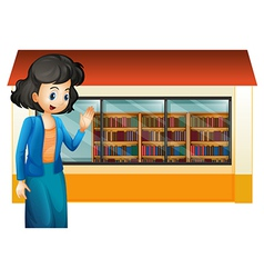 A librarian outside the library vector