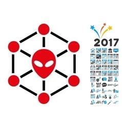 Alien Network Icon with 2017 Year Bonus Pictograms vector image vector image