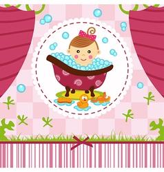 Baby girl in bath vector