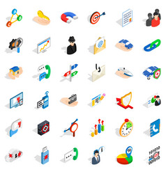 Business progress icons set isometric style vector