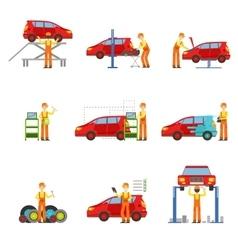 Car repair shop services set of vector