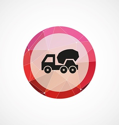 Concrete mixer circle pink triangle background vector