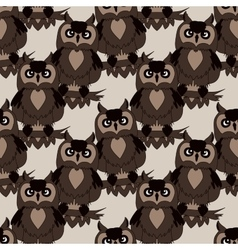 Cute owl seamless pattern vector image