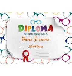 Diploma template for children vector