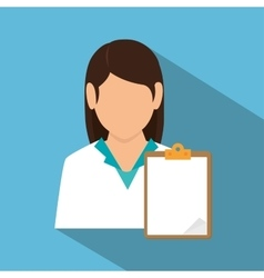 doctor female with clipboard shadow vector image