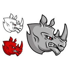 Fierce cartoon rhino head vector image vector image