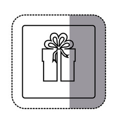 Figure emblem sticker box with bow ribbon icon vector
