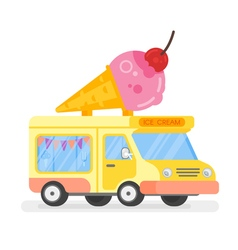 flat style of ice cream colorful car with big ice vector image
