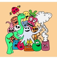 Funny monsters card vector