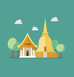 Golden pagoda and buddhism temple vector