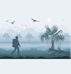 Hiker enjoying tropical landscape mountain peaks vector