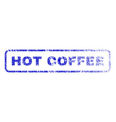 Hot coffee rubber stamp vector
