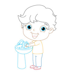 kid washing hands coloring page vector image vector image