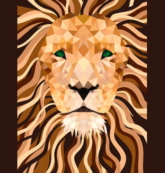 lion from shapes low poly face vector image vector image