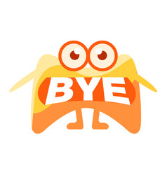 orange blob saying bye cute emoji character with vector image vector image