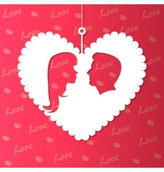 paper hearts and lovers silhouette vector image