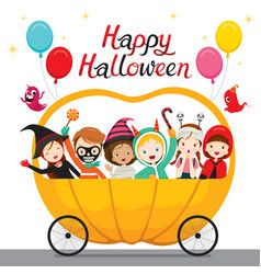 Relaxing children sitting on halloween pumpkin vector