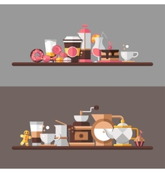 Set of modern flat design coffee-shop cafe and vector image vector image