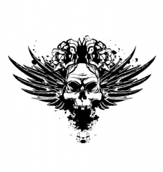 skull with wings and roses vector image vector image