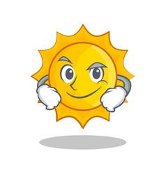 smirking cute sun character cartoon vector image