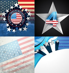 Stylish set of american independence day vector