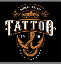tattoo lettering with anchor for dark background vector image vector image